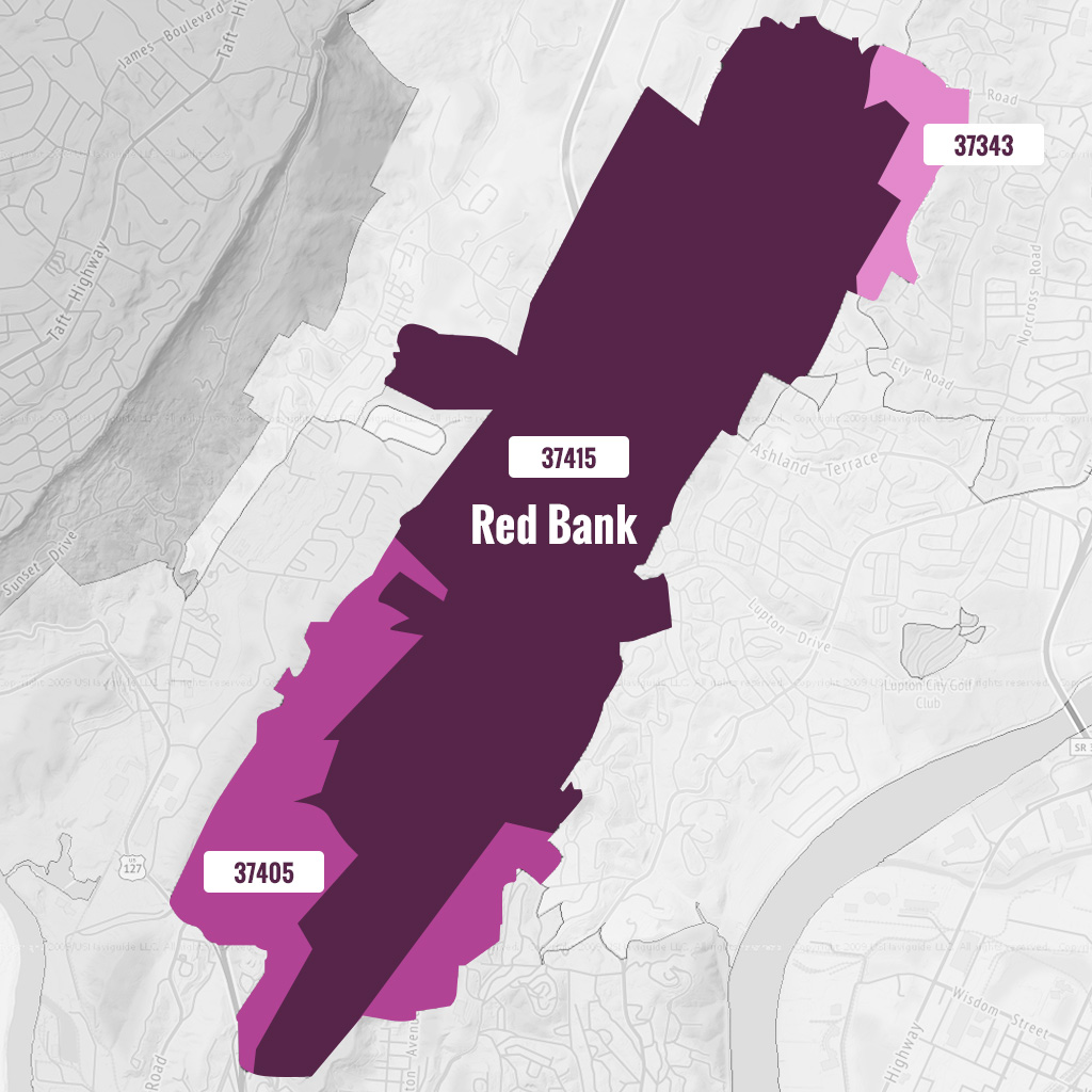 red bank tn zip code map v2